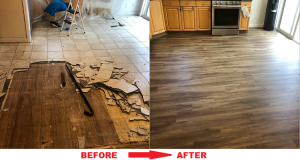 We Removed The Old Tiles And Applied The New Wooden Floor